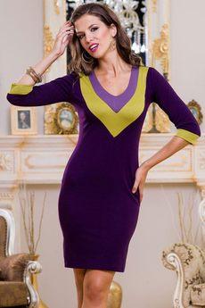 ХИТ продаж: повседневное трикотажное платье с v-образным вырезом Angela Ricci