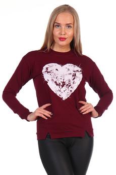 Бордовый свитшот с сердцем Грация