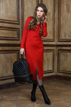 Красное платье с разрезом Mondigo со скидкой