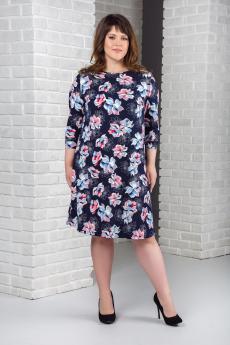 Темно-синее платье с цветами Шарлиз